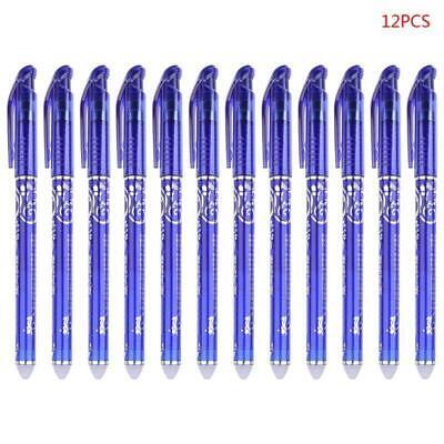 12 Pcs Luxury Erasable 0.5mm Gel Pen Blue Ink Slim Ballpoint Writing Tool Supply