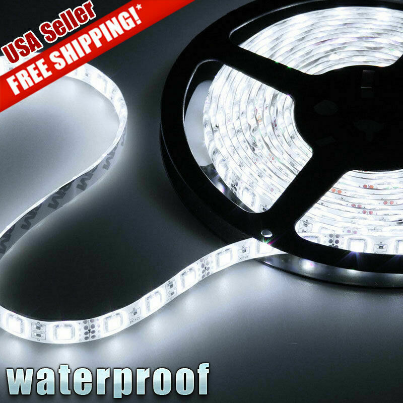 5M 3528 LED Strip Light 300 LEDs Super Bright 7000K Cool White Waterproof IP65 Home & Garden