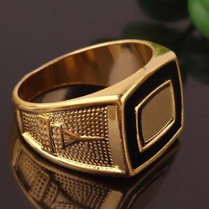Attractive Mens 14K Gold Filled Rectangle Ring Sz 11, 12 - New