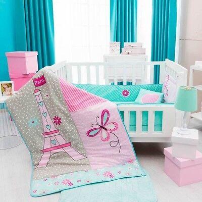 EIFFEL TOWER BABY GIRLS CRIB BEDDING SET NURSERY 6 PCS FOR BABY SHOWER - Tower Girls