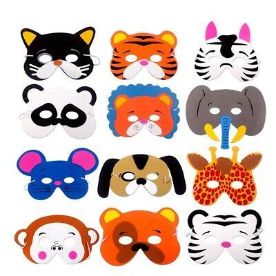 12pcs Animal Masks Foam Jungle Farm Children Kids Birthday Party Dressing Up Set