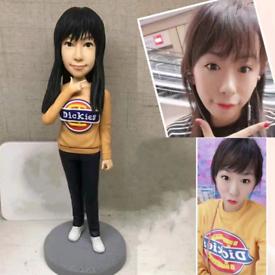 Custom Handmade Your 3D Minime Art Doll yellow shirt lovely girl