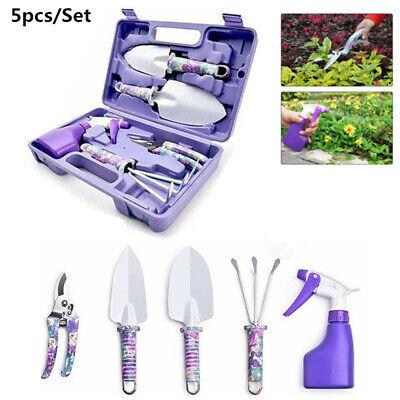 5 Pieces Garden Tools Kit Set Floral Print Shovel Trowel Pruner Spray Bottle