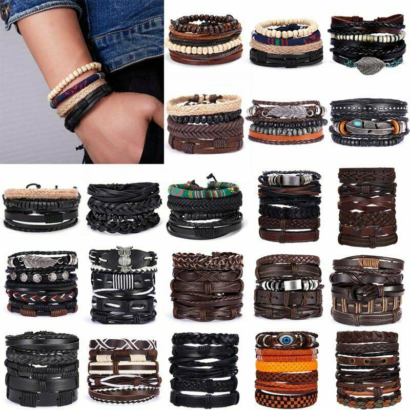4Pcs Punk Multilayer Leather Bracelet Men's  Women Wristband