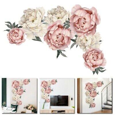Peony Rose Flowers Wall Sticker Art Nursery Decals Kids Room