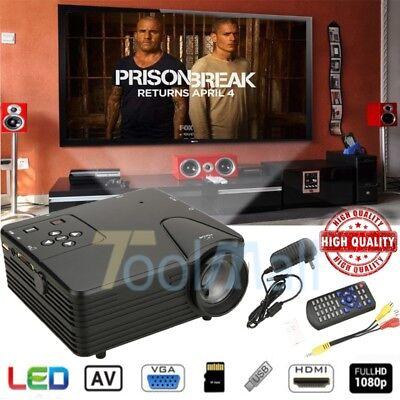 3800Lumens 1080P Hd Led Projector Home Cinema Theater Multimedia Usb Tv Av Hdmi