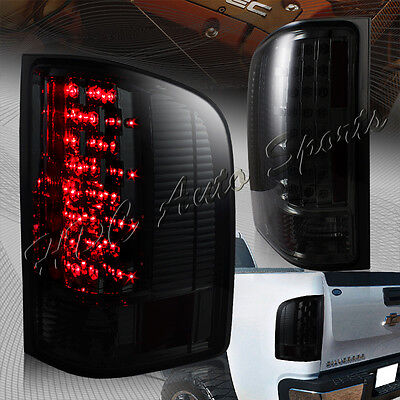 For 2007-2014 Chevy Silverado 1500 2500 3500 LED Smoke Lens Rear Tail Lights