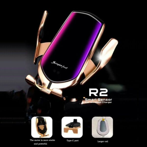 Smart Automatic Upgraded Version R2 car phone holder typec interface wireless charging gun color