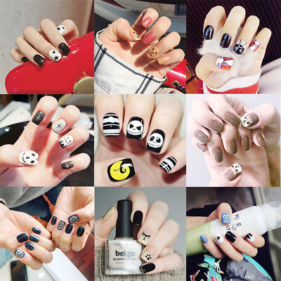 24pcs False Nails Cartoon Halloween Dog Cat Pattern Artificial Nail Tip Manicure](Halloween Cat Manicure)