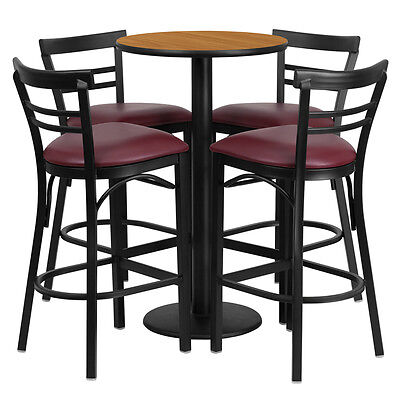 Restaurant Table Chairs 24 Natural Laminate With 4 Ladder Metal Bar Stools