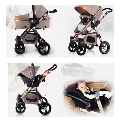 3 in1 Pro Baby Stroller High Landscape Foldable Pushchair Ba