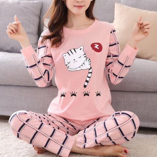 Women  Long Sleeve Pajamas Set Cartoon Sleepwear Tops & Pant