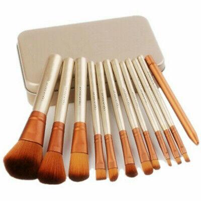 12pcs/set Eyeshadow Eyeliner Lip Makeup Brushes Foundation Make up + Metal Box