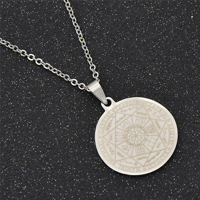 - Solomon Seal Pendant Necklace for Men Silver Chain Chic Fashion Amulet Jewelry