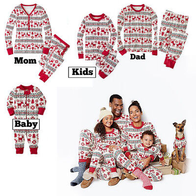Christmas Schlafanzug Pyjama Damen Herren Kinder Nachtwäsche (Christmas Nachtwäsche Kinder)