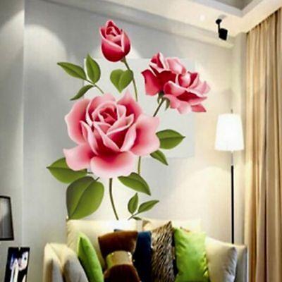DIY Vinyl Home Room Decor Art Rose Flower Wall Decal Sticker
