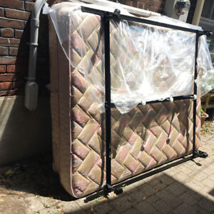 Queens size mattress, box spring and metal frame for free pickup
