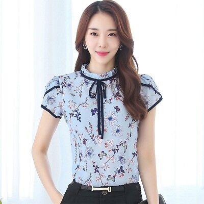 Floral Chiffon Blouse Bow Neck Women Shirt Summer Short Puff Sleeve Tops Casual