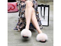 DAYMISFURRY- Fox Fur Slippers - Vanilla Cream