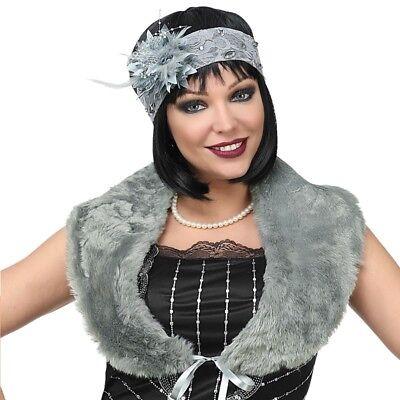 20er Jahre Kunst Pelz-Stola -Kragen+Kopfschmuck Charleston Kostüm Babylon grau