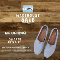 Help Required for TOMS Warehouse Sale in Calgary Oct 25-29