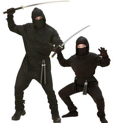 Herren und Kinder Kostüm BLACK DRAGON Ninja Samurai Kämpfer schwarz Jungen ()