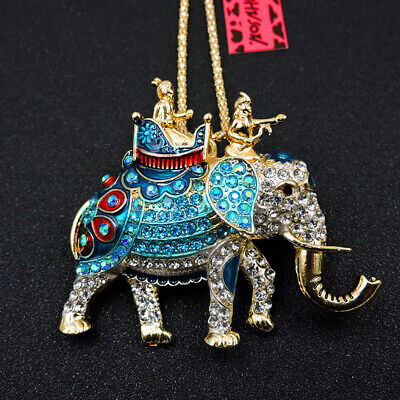 Betsey Johnson Blue Enamel Cute Crystal Elephant Sweater Chain Necklace