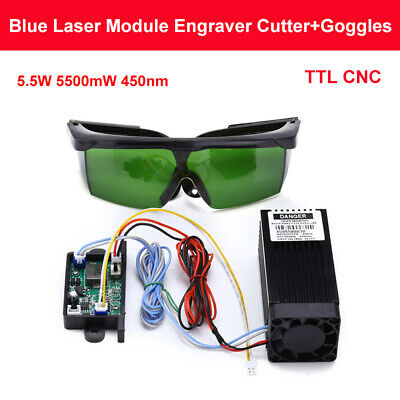 Powerful Ttl Cnc 5.5w 5500mw 450nm Blue Laser Module Engraving Machine Goggles