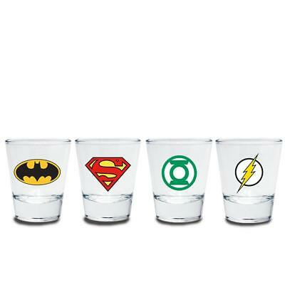 DC Comics Schnapsgläser Set Helden Logos Batman Flash Superman Green Lantern NEU