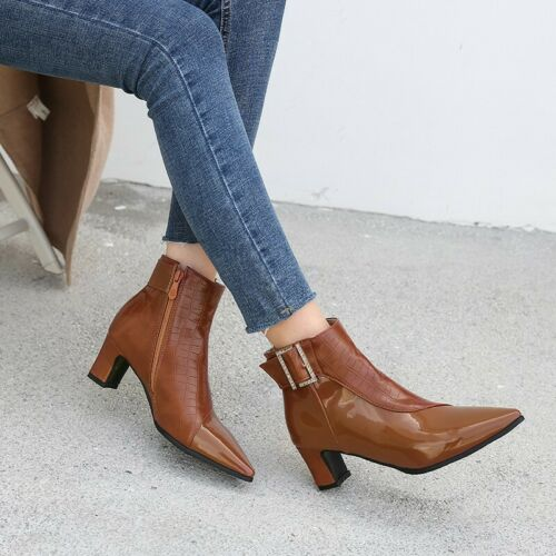 Details about  /Europe Women/'s Ankle Boots Pointy Toe High Block Heel Zip Up Solid Color Shoes
