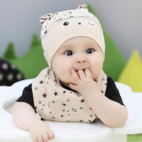 96769a97a 2PCS Set Bandana Cotton Baby Boy Girl Cap Owl Hat Bib Head Scarf ...