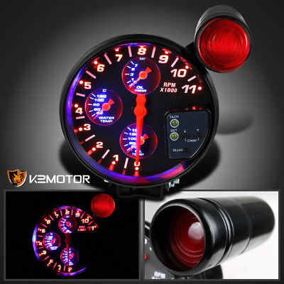 "5"" 4-in-1 11K RPM LED Shift Light Tachometer Oil Water Pressure Temp Gauge"