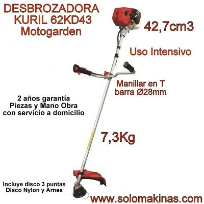 DESBROZADORA KURIL 62KD43 MOTOGARDEN USO INTENSIVO SEMI-PROFESIONAL 42CM3