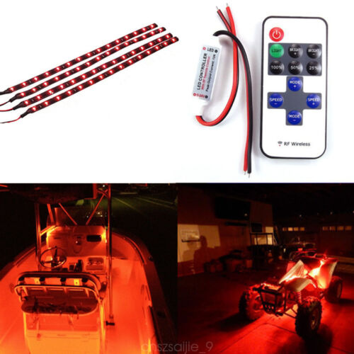 One set 4pcs Red Car Boat LED Light Strip Wireless Remote Control Motorcycle Kit