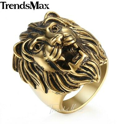 Size 7-13,Gold 316L Stainless Steel Carved Roaring Lion King Ring For Men Boy - Rings For Boys
