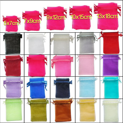 25/100pcs Organza Wedding Party Xmas Jewelry Favour Gift Bags Pouch Decor 5Sizes ()