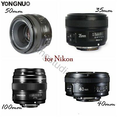 Yongnuo YN 40mm 100mm 35mm 50mm EF Prime Fixed Lens for Nikon DSLR D800 D90 D70