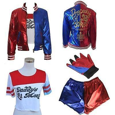 Harley Quinn Outfits (Halloween Cosplay Kostüm Suicide Squad Jacket Harley Quinn Outfit Suit Joker NEU)