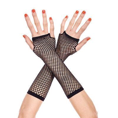 Neon Fischnetz fingerlose lange Handschuhe Bein Arm Manschette Goth Punk-Maske ()