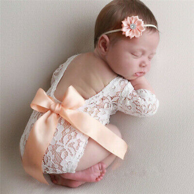 New Baby Costumes (Newborn Baby Girl Lace Floral Romper Bodysuit Photo Props Photography Costumes)