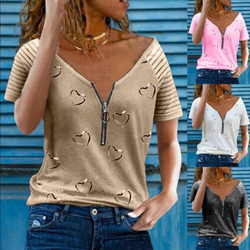 Summer Womens Zipper V Neck Short Sleeve T Shirt Casual Striped Blouse Loose Top