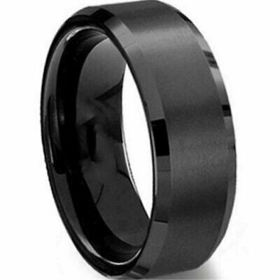 8MM Stainless Steel Ring Band Titanium Black Men's SZ 6 to 12 Wedding Rings Fashion Jewelry