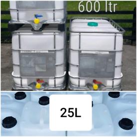 25 600 LITRE 25L 600L L IBC CUBE WATER CONTAINERS JARS DRUMS TANKS