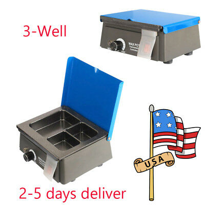 3-well Dental Analog Wax Heater Pot Dental Lab 110v 220v Waxer Melting Dipping