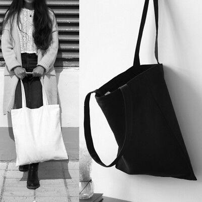Tragbare einfache Art weiß / schwarz einkaufen Baumwolle Tasche Canvas Tote ()