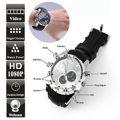 Spy Wrist Watch 1080P 16GB IR Night Vision Hidden video Camera Waterproof DVR
