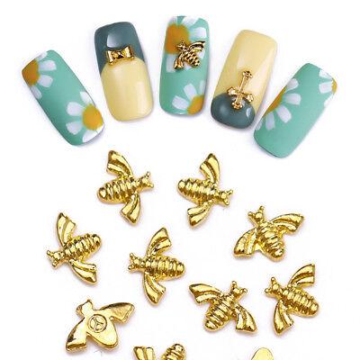10X Bee Bowknot Cross Metal Nagel Kunst Studs Gold Silver Maniküre 3D Stickers