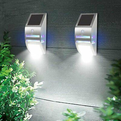 Solar Powered Wall Lights Yard Fence Stainless Steel Garden Outdoor Lamp IP65 Stainless Steel Solar Wall