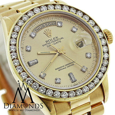 Presidential Rolex 18038 Single Quickset 18k Yellow Gold Watch Diamond Bezel