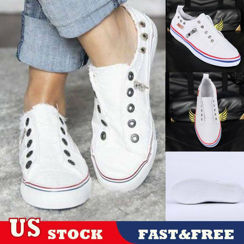 NEW Womens Canvas Loafers Pumps Flatform Slip On Sneakers Casual Ladies Shoes US